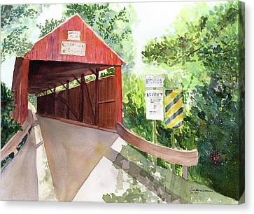 The Covered Bridge Canvas Print by Vickey Swenson