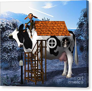 The Cow House Canvas Print by Jutta Maria Pusl
