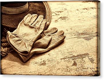 The Cowboy Gloves Canvas Print by American West Legend By Olivier Le Queinec