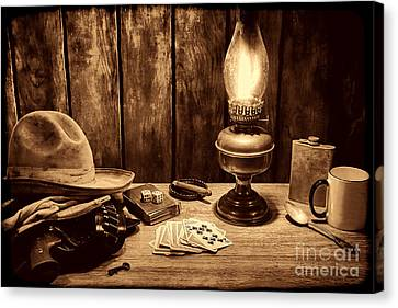 The Cowboy Nightstand Canvas Print by American West Legend By Olivier Le Queinec
