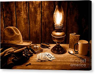 Oil Lamp Canvas Print - The Cowboy Nightstand - Sepia by Olivier Le Queinec