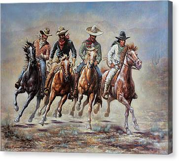 Canvas Print featuring the painting The Cowboys by Harvie Brown
