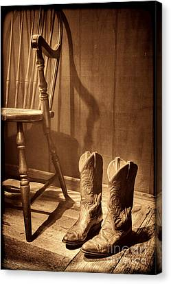 The Cowgirl Boots And The Old Chair Canvas Print by American West Legend By Olivier Le Queinec