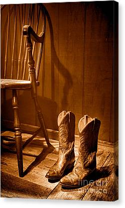 The Cowgirl Boots And The Old Chair - Sepia Canvas Print