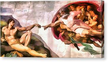 Touching Canvas Print - The Creation Of Adam By Michelangelo Revisited - Da by Leonardo Digenio