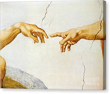 The Creation Of Adam Canvas Print by Michelangelo Buonarroti