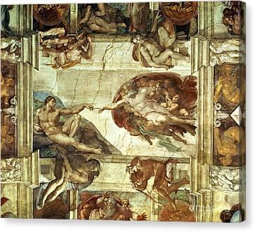Touching Canvas Print - The Creation Of Adam by Michelangelo
