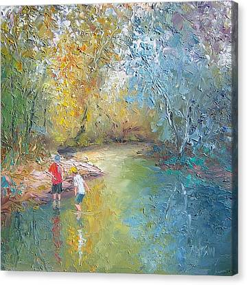 The Creek In The Forest Canvas Print