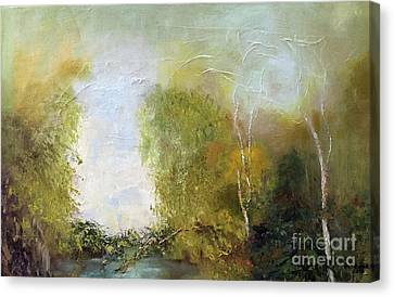 Canvas Print featuring the painting The Creek by Marlene Book