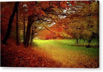 Canvas Print featuring the painting The Crimson Season P D P by David Dehner