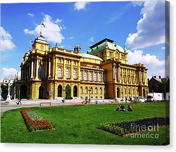 The Croatian National Theater In Zagreb, Croatia Canvas Print by Jasna Dragun
