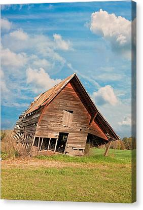 The Crooked Barn Canvas Print by Kim Hojnacki