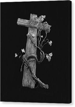 The Cross And The Vine Canvas Print by Jyvonne Inman