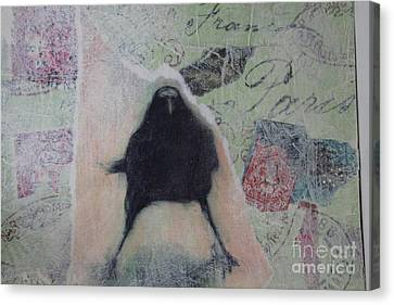 Canvas Print featuring the painting The Crow Called The Raven Black by Kim Nelson