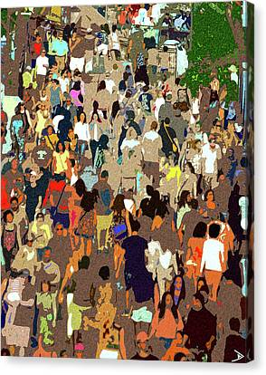Canvas Print featuring the painting The Crowd by David Lee Thompson