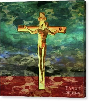 Crucifix Art Canvas Print - The Crucific Pop Art By Mary Bassett by Mary Bassett
