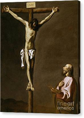 The Crucified Christ With A Painter Canvas Print by Francisco de Zurbaran