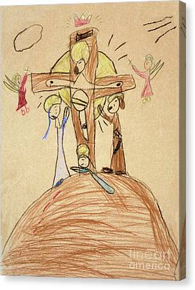 Canvas Print featuring the drawing The Crucifixion By Fr. Bill At Age 5 by William Hart McNichols