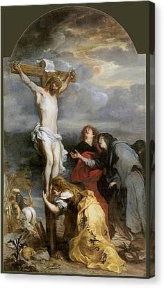 The Crucifixion By Van Der Weyden Canvas Print by Anthony Van Dyke