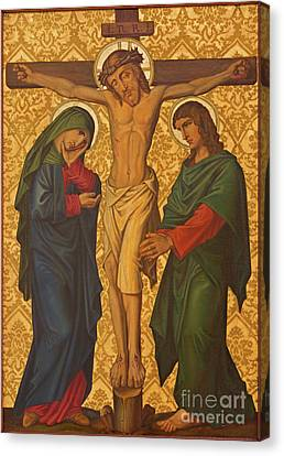 The Crucifixion Painting In Jerusalem Canvas Print by Jozef Sedmak