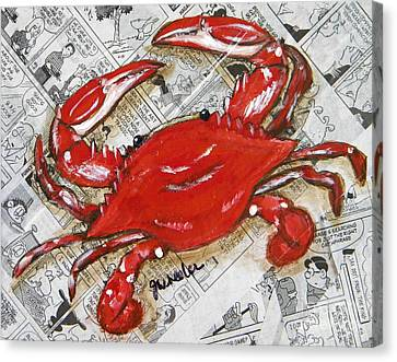 The Daily Crab Canvas Print by JoAnn Wheeler