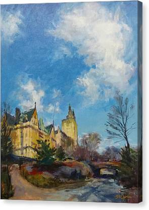 The Dakota And San Remo Towers From Central Park West Canvas Print by Peter Salwen