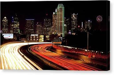 The Dallas Night Skyline Canvas Print by JC Findley