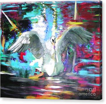 The Dance Of The Swan Canvas Print by Marie-Line Vasseur