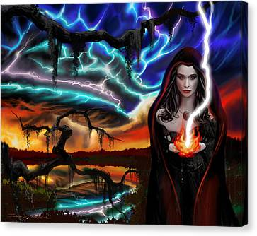 Canvas Print featuring the painting The Dark Caster Calls The Storm by James Christopher Hill