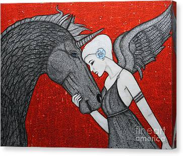 The Dark Unicorn Canvas Print by Natalie Briney