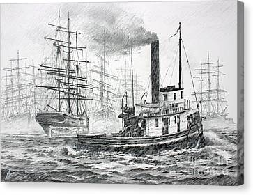 The Days Of Steam And Sail Canvas Print by James Williamson
