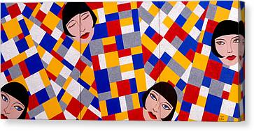 The De Stijl Dolls Canvas Print by Tara Hutton