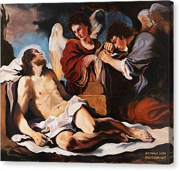 The Dead Christ Mourned By Two Angels Canvas Print by Rebecca Poole