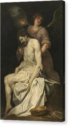 The Dead Christ Supported By An Angel Canvas Print