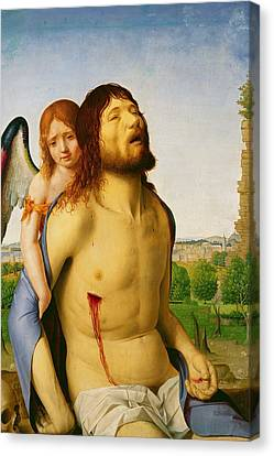 The Dead Christ Supported By An Angel Canvas Print by Antonello da Messina