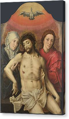 Prodigal Canvas Print - The Dead Christ Supported By The Virgin And Saint John by Workshop of the Master of the Prodigal Son
