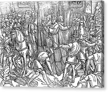 Barn Pen And Ink Canvas Print - The Death And Burning Of The Most Constant Martyrs Of Christ by English School