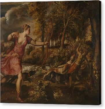 Greek School Of Art Canvas Print - The Death Of Actaeon by Titian