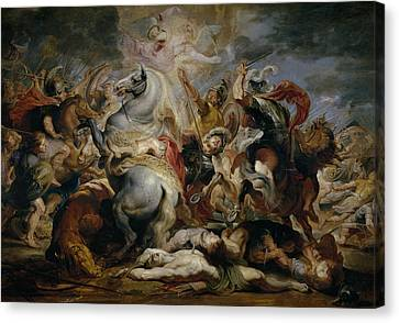 The Death Of Decius Mus Canvas Print by Peter Paul Rubens