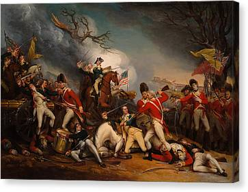 The Death Of General Mercer At The Bottle Of Princeton Canvas Print by Mountain Dreams