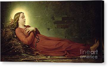 The Death Of Germaine Cousin The Virgin Of Pibrac Canvas Print by Alexandre Grellet