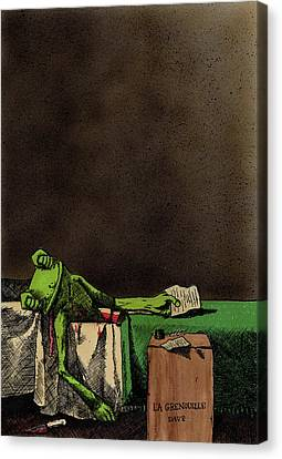 The Death Of La Grenouille Canvas Print by Bizarre Bunny