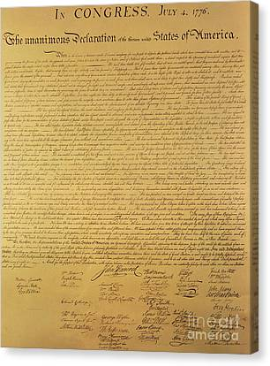 History Canvas Print - The Declaration Of Independence by Founding Fathers