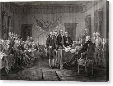 The Declaration Of Independence July Canvas Print by Vintage Design Pics