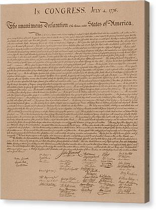 The Declaration Of Independence Canvas Print by War Is Hell Store