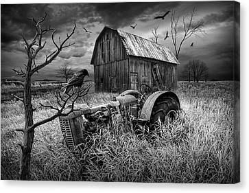 Canvas Print featuring the photograph The Decline And Death Of The Small Farm In Black And White by Randall Nyhof
