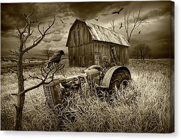 Canvas Print featuring the photograph The Decline And Death Of The Small Farm In Sepia Tone by Randall Nyhof