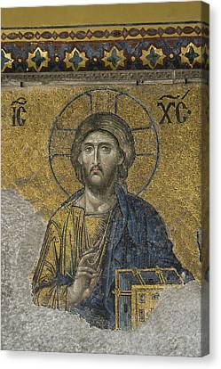 The Dees Mosaic In Hagia Sophia Canvas Print by Ayhan Altun