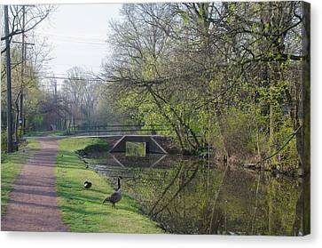 The Delaware Canal - Morrisville Pennsylvania Canvas Print by Bill Cannon