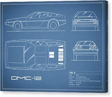 The Delorean Dmc-12 Blueprint Canvas Print by Mark Rogan